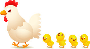 Chicken family. With mother leading her four yellow chicken babies  illustration Royalty Free Stock Photos