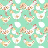 Chicken family seamless pattern Royalty Free Stock Images