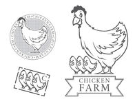 Chicken farm emblems Royalty Free Stock Photos