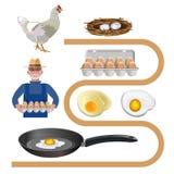 Chicken farm set vector illustration