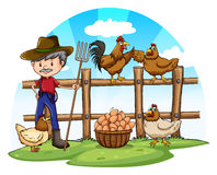Chicken farmer with eggs Royalty Free Stock Photography