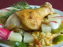 Chicken fast food. Chicken with rice and vegetables royalty free stock photos