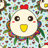 Chicken fat cute seamless pattern Royalty Free Stock Images