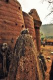 Chicken Feathers And Animal Bones Cover A Shrine Dedicated To Th. E Ancestors, Ghana stock photo