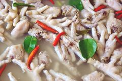 Chicken Feet Spicy Soup, Street food Thai style.  royalty free stock photos