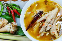 Chicken feet with tamarind leaf spicy tom yam and mixed ingredient herb Stock Images