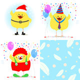Chicken festive set. Chicken Santa Claus, a clown. Seamless text. Ure with feathers. Vector Royalty Free Stock Image
