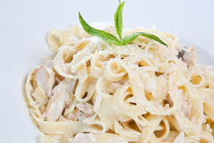 Chicken fettuccine pasta. Is ready to eat stock photos