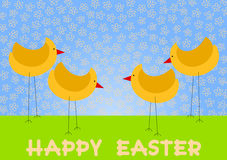 Chicken on a Field Happy Easter Card. Card with chicken on a field, with happy easter message and flowers sky Royalty Free Stock Photography