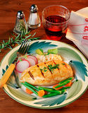 Chicken Filet in a Wooden Table Stock Image