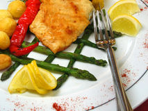 Chicken fillet. On the decorated plate with oven potatoes Stock Photography