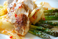 Chicken fillet with asparagus Royalty Free Stock Image