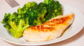 Chicken fillet with broccoli Stock Photo