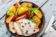 Chicken fillet with caper. Sauce Stock Images