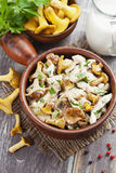 Chicken fillet with chanterelles and cream. In a pan on the table stock photography
