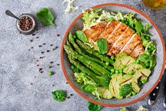 Chicken fillet cooked on a grill with a garnish of asparagus and grilled avokado. Dietary menu. Healthy food. Flat lay. Top view royalty free stock images