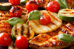 Chicken fillet grilled with pineapple and vegetables macro. hori Stock Photography