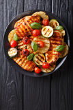 Chicken fillet grilled with vegetables in a sweet-hot sauce clos Royalty Free Stock Images