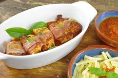 Chicken fillet with ham Stock Photos