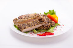 Chicken fillet with herbs and vegetables royalty free stock photo