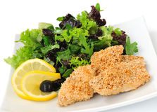 Free Chicken Fillet In Sesame With A Mixture Of Lettuce Royalty Free Stock Images - 22146139