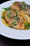 Chicken fillet in lemon-wine gravy Royalty Free Stock Photography
