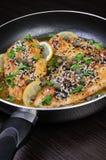 Chicken fillet in lemon-wine gravy Royalty Free Stock Images
