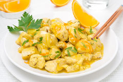 Chicken fillet with orange sauce and parsley on the plate Royalty Free Stock Photos