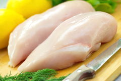 Chicken fillet prepared for cooking Stock Images