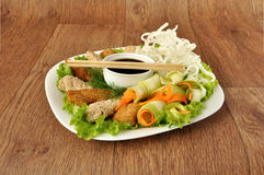 Chicken fillet with rice noodles and vegetablesa Royalty Free Stock Image