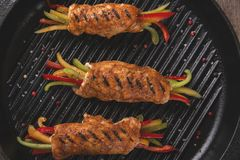 Chicken fillet with vegetables grill royalty free stock photography