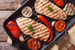 Chicken fillet with vegetables in pan horizontal top view Royalty Free Stock Photos