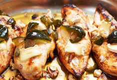 Chicken fillet wirh figs and camambert Stock Photography