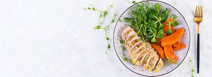 Free Chicken Fillet With Baked Pumpkin And Corn Salad. Stock Image - 170411261