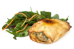 Chicken Filo with Spinach Salad over White Stock Photography