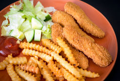 Chicken fingers or chicken nuggets Royalty Free Stock Photography