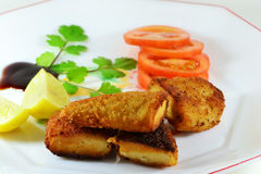 Chicken fingers. Dish of crispy brown chicken fingers with tomatoes slices, lemons and other ingredients Royalty Free Stock Image