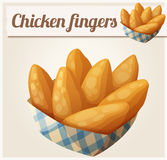 Chicken fingers in the paper basket. Detailed vector icon Stock Photography
