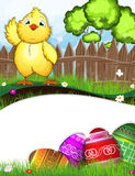 Chicken flaps its wing. Fluffy chicken flaps its wing on a green meadow near a wooden fence. Painted Easter eggs in the grass in the foreground Royalty Free Stock Images