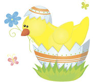 Chicken with flower Royalty Free Stock Images