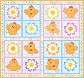 Chicken and flowers. Made in vector, Adobe Illustrator 8 EPS file Stock Photos