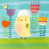 Chicken in flowers. Cartoon small chicken in flowers illustration Stock Image