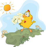 Chicken and flowers cartoon Royalty Free Stock Images