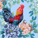 Chicken and flowers. Chicken and flowers in the Chinese style Royalty Free Stock Photo