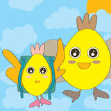 Chicken Fly to School. Illustration of chicken mother send child to school Royalty Free Stock Photo