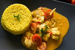 Chicken food with rice, paprika, tomatoes Stock Images