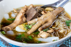 Chicken foot in noodle soup Royalty Free Stock Photography