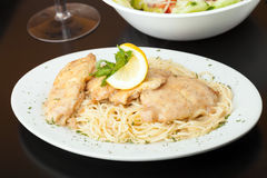 Chicken Francaise with Pasta Stock Photo