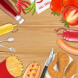 Chicken french fries sausage  tomato pepper sauce Royalty Free Stock Photos