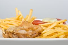 Chicken with French fries tomato plus onion Stock Photos
